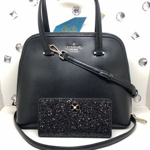 KATE♠️SPADE MEDIUM DOME SATCHEL + GLITTER WALLET